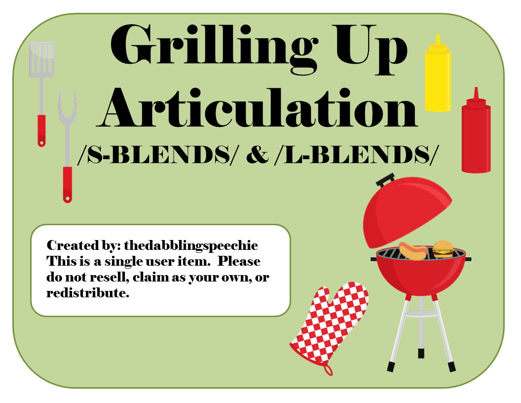 Grillin Up Articulation Game Sblends Lblends SH CH DJ – L Blends Worksheets