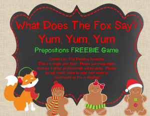 What Does The Fox Say-Prepositions Freebie
