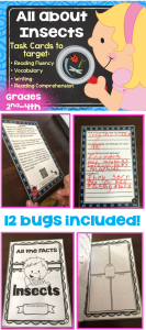 Listening And Reading Comprehension Task Cards- All About Insects