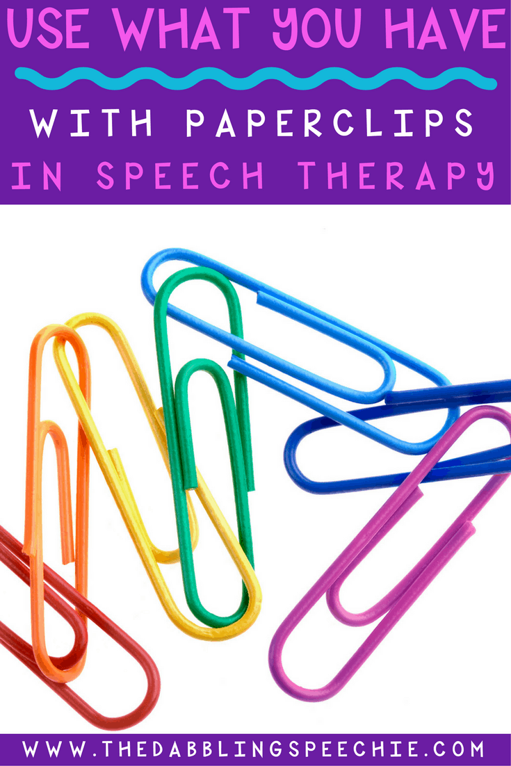 Paperclips in speech therapy is a great resource for using what you have to do therapy. Lots of speech therapy ideas