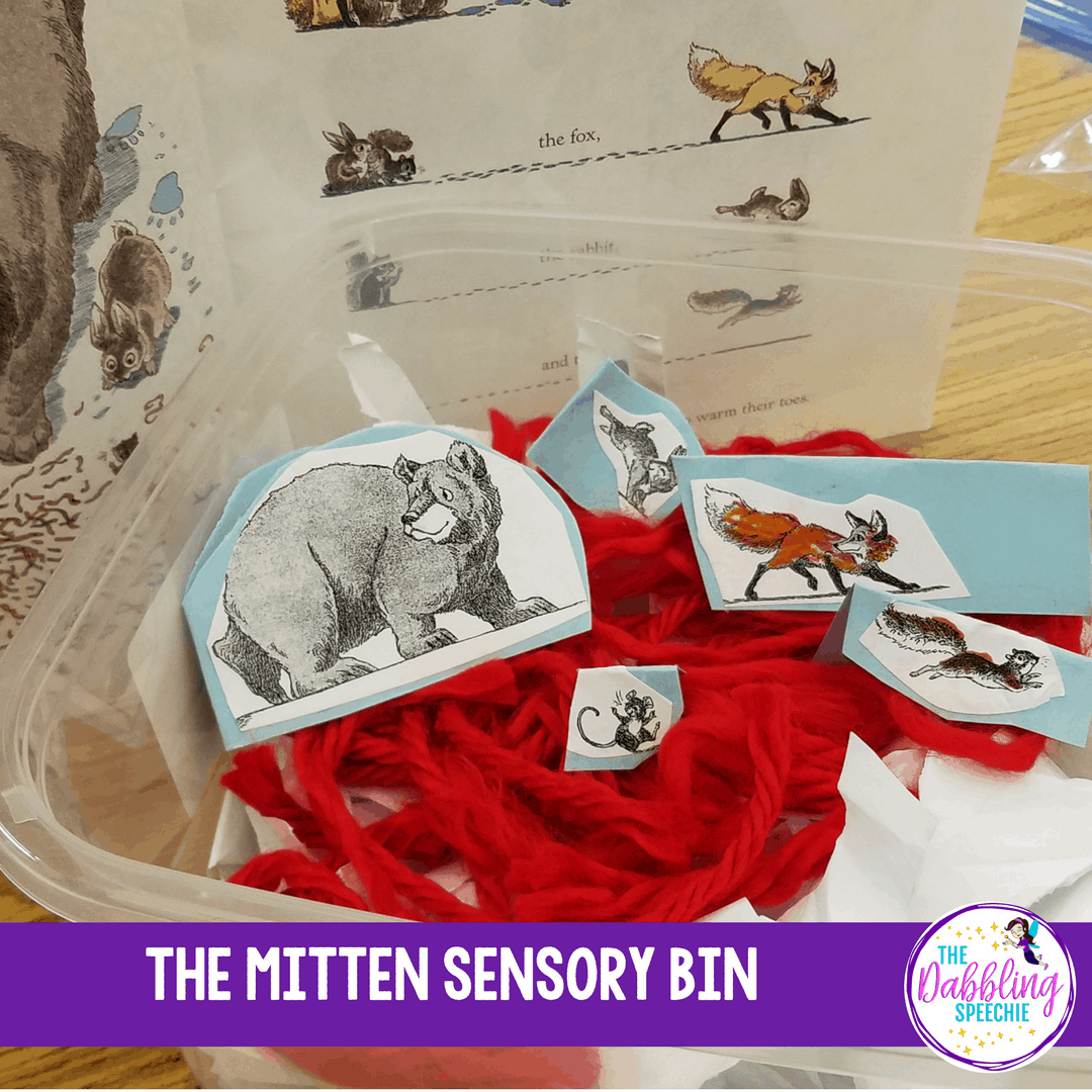 Winter sensory bins are great when you pair with your favorite book like The Mitten