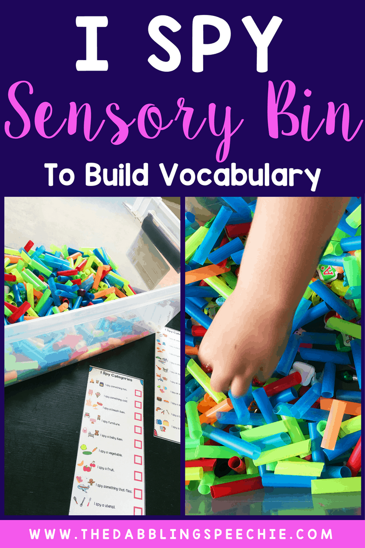 """""""I spy"""" sensory bin is perfect for building language with understanding of categories, describing items by attributes and using them in grammar."""