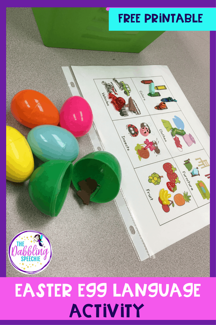 Need an easter egg language activity that is engaging for your students? Then, you need to try out this category easter egg hunt with FREE printable!