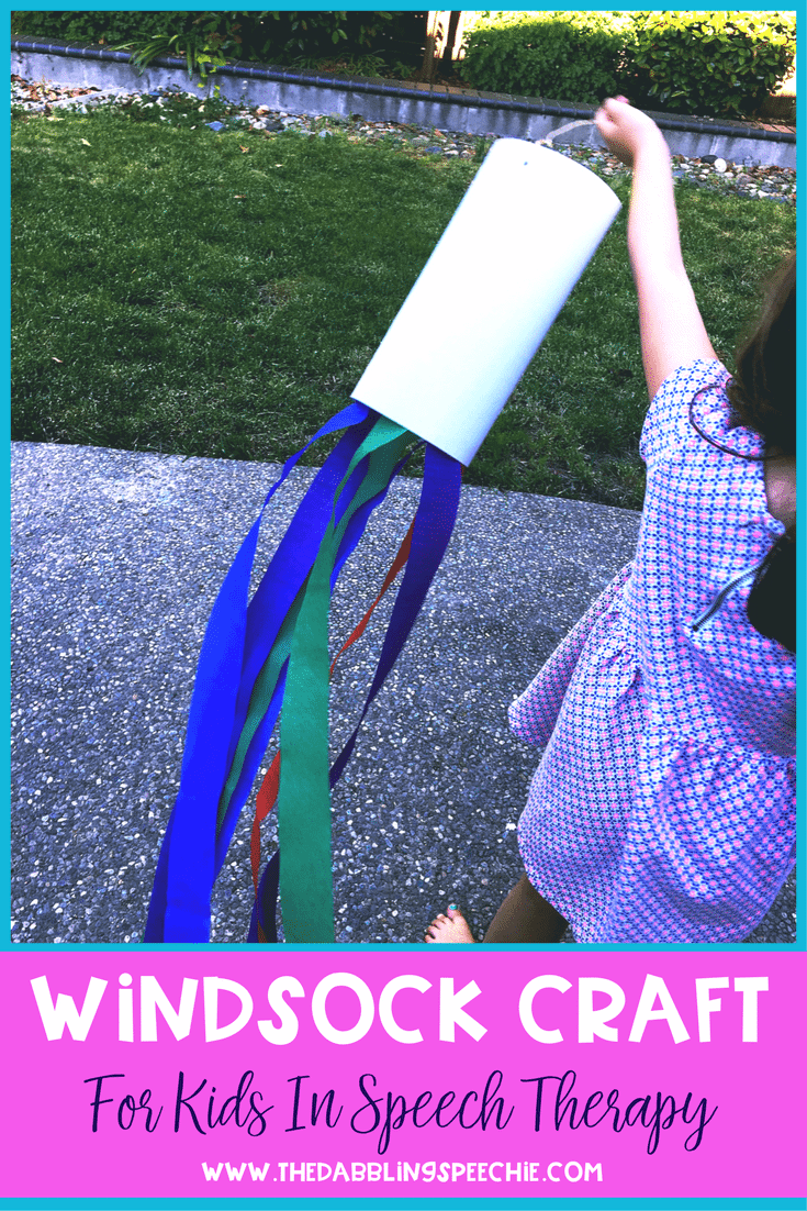 windsock craft for kids to use in speech therapy. There are a lot o ways to adapt a windsock craft for speech and language goals. Perfect language activity!