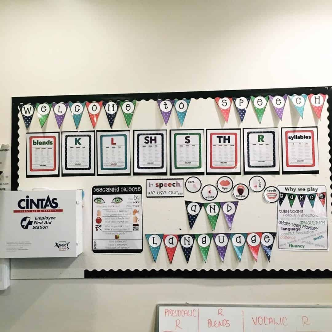 speech therapy bulletin boards that display articulation and language targets