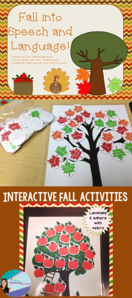 fall speech and language activities long pin
