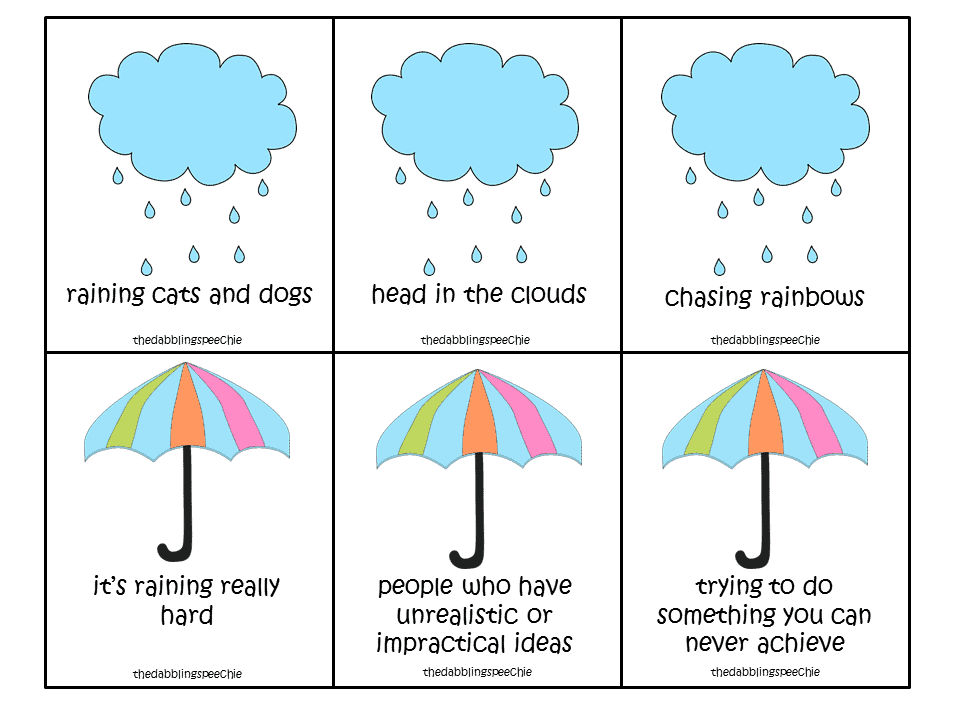 Head In The Clouds Idioms Activity Freebies Thedabblingspeechie
