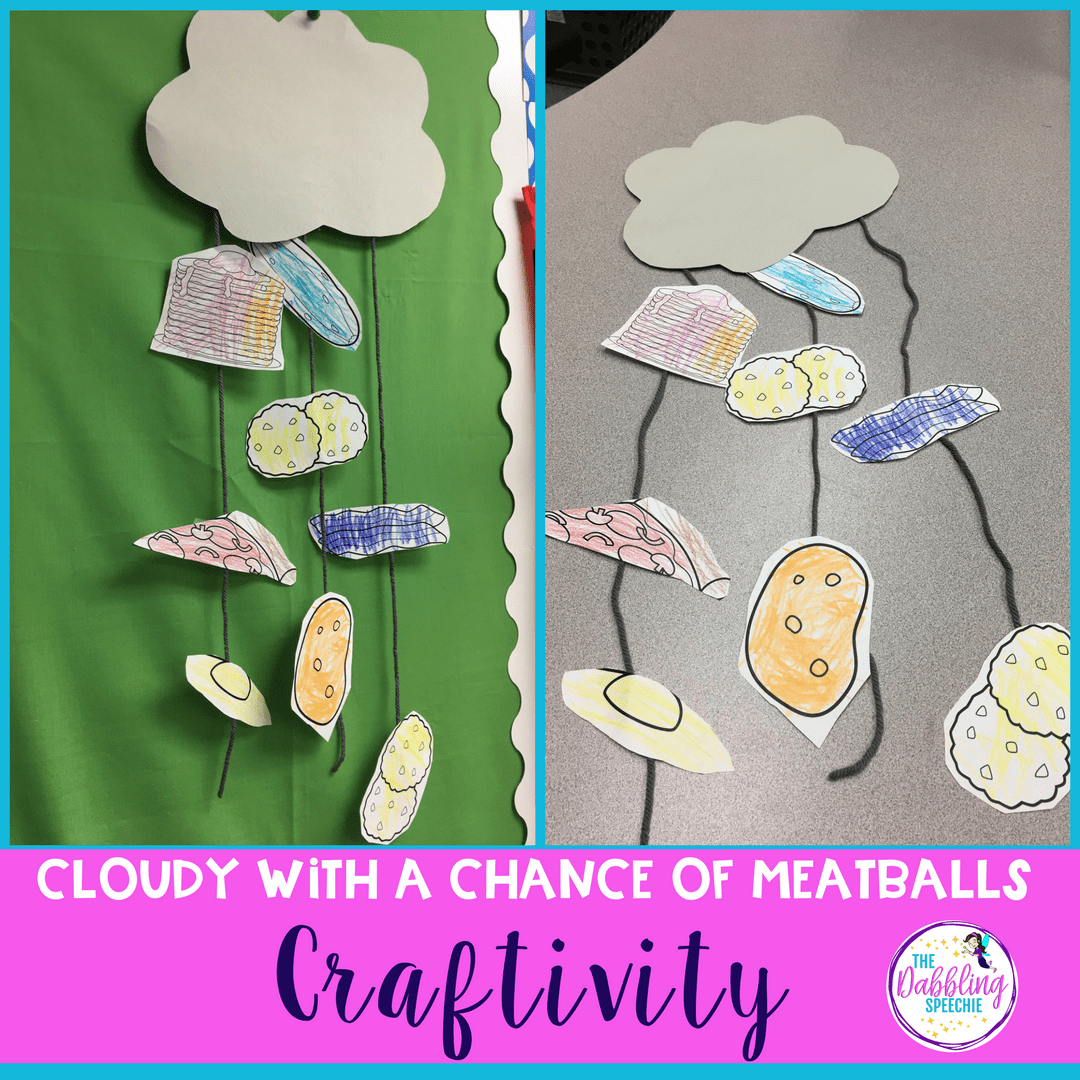 Have fun with this craftivity that pairs well with the Cloudy With A Chance of Meatballs in speech therapy!