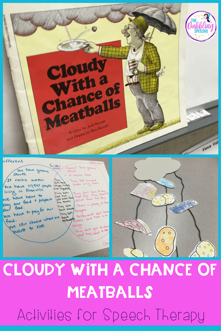 Cloudy With A Chance of Meatballs is a great book to use in your speech therapy sessions. There are so many great ways to expand on this book in therapy.