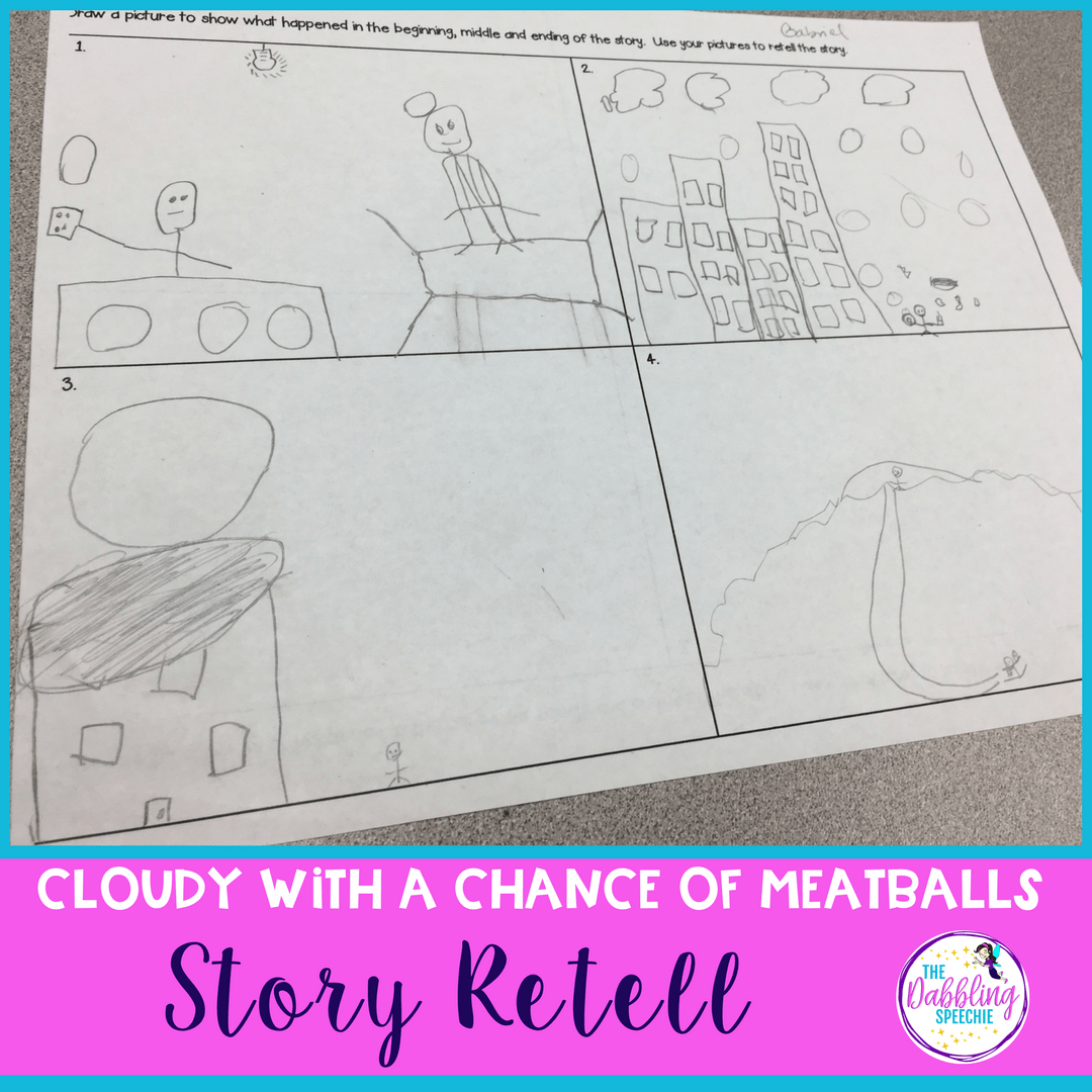 Work on visualizing with the Cloudy With A Chance of Meatballs. It is a lot easier to work on story telling with visual supports