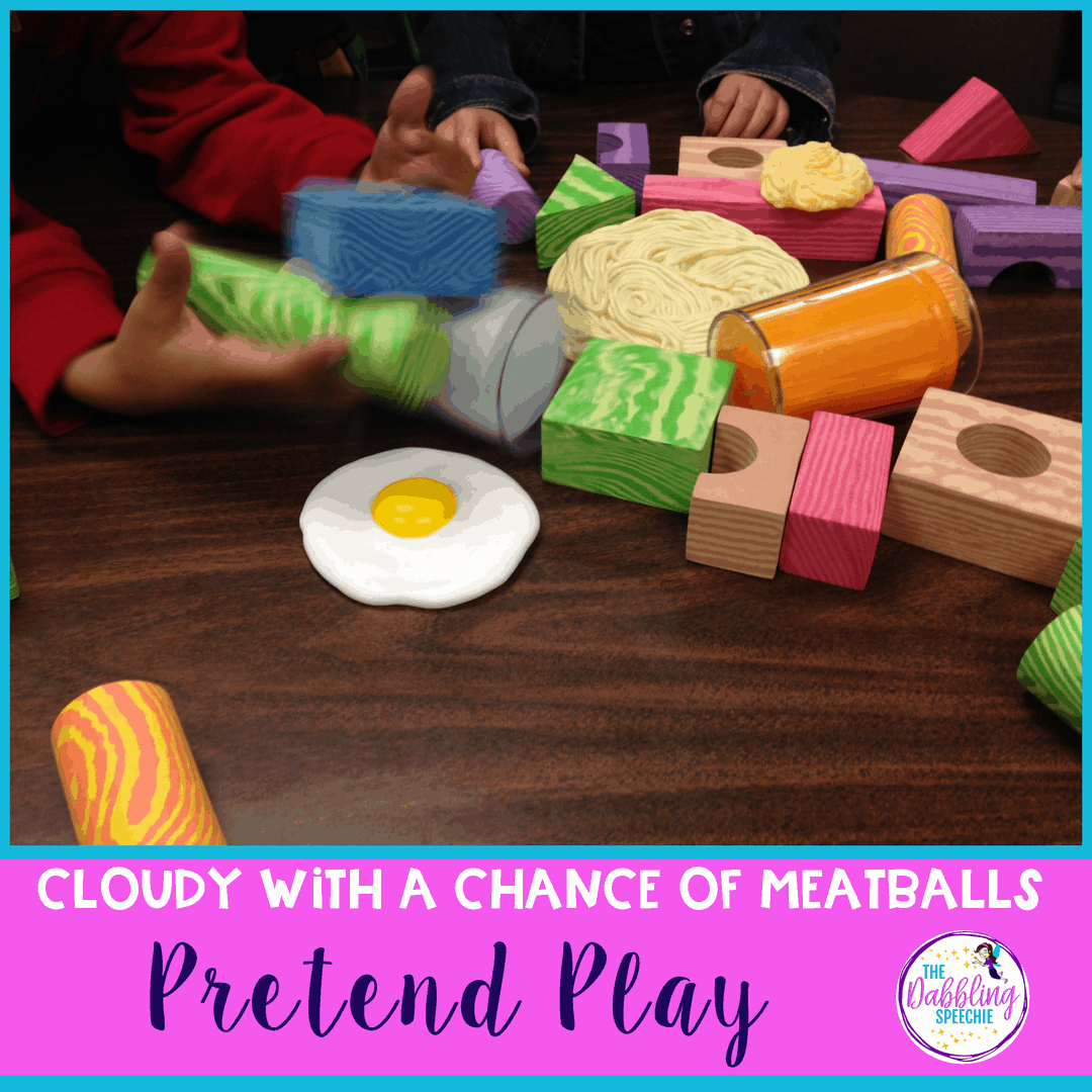 Work on pretend play skills with cloudy with a chance of meatballs speech therapy activities