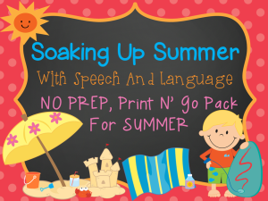 Soaking Up Summer With Speech & Language!