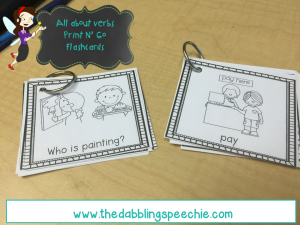 printable verb flashcards