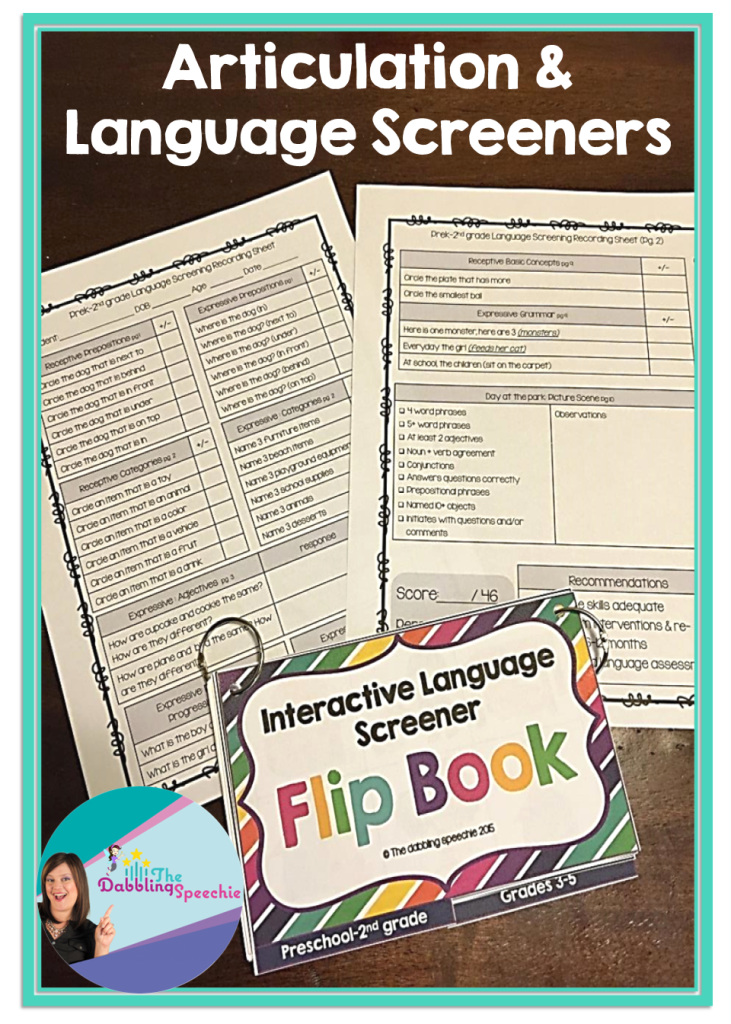 Articulation And Language Screener Flip Books Thedabblingspeechie