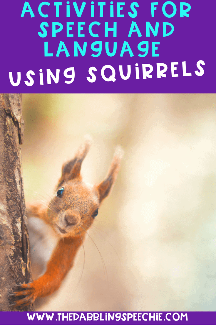 Activities for speech and language using squirrels. Squirrel themed activities that are perfect for the fall season!