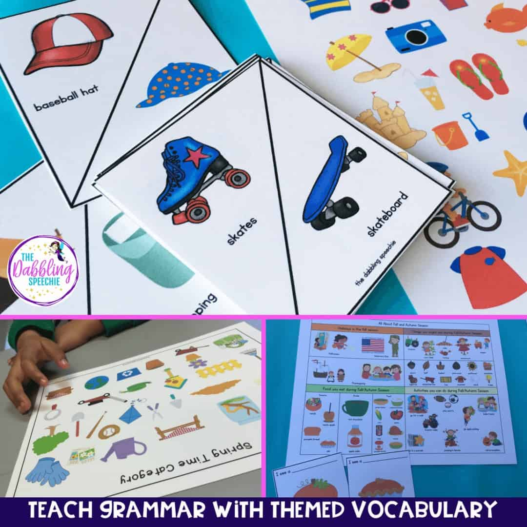 effective grammar intervention resources using themed vocabulary to practice grammar targets in speech therapy!