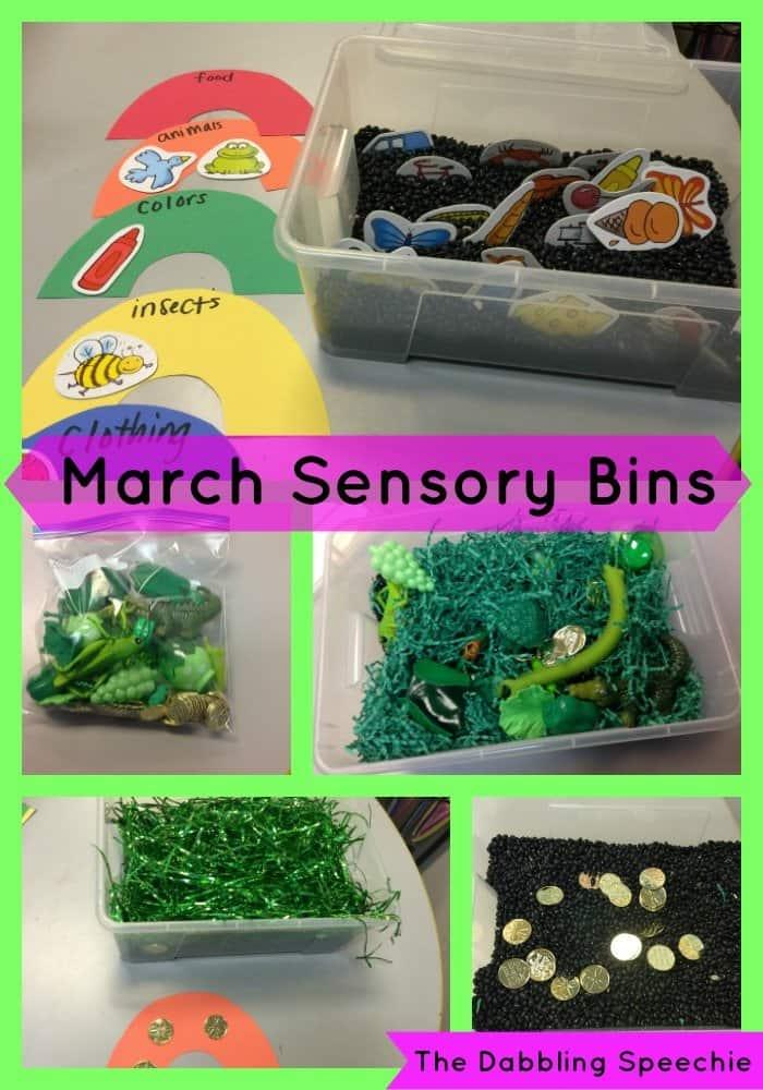 March sensory bins