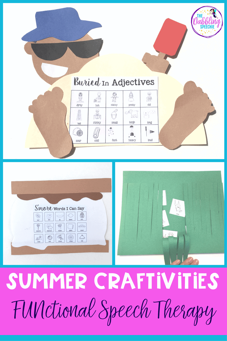 summer crafts speech therapy are a great way to target following directions, discuss themed vocabulary and work on lots of different skills with the premade templates for articulation and language goals.