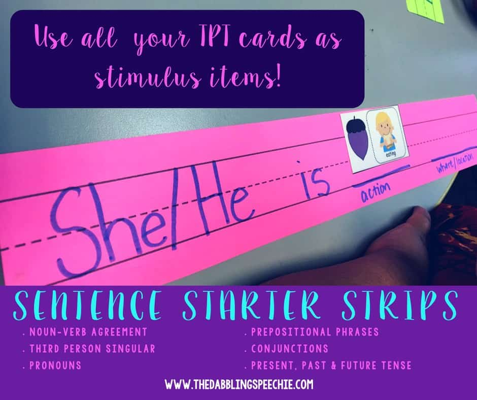 sentence starter strips in speech therapy can target so many things in speech therapy including grammar, language, inferences, predictions