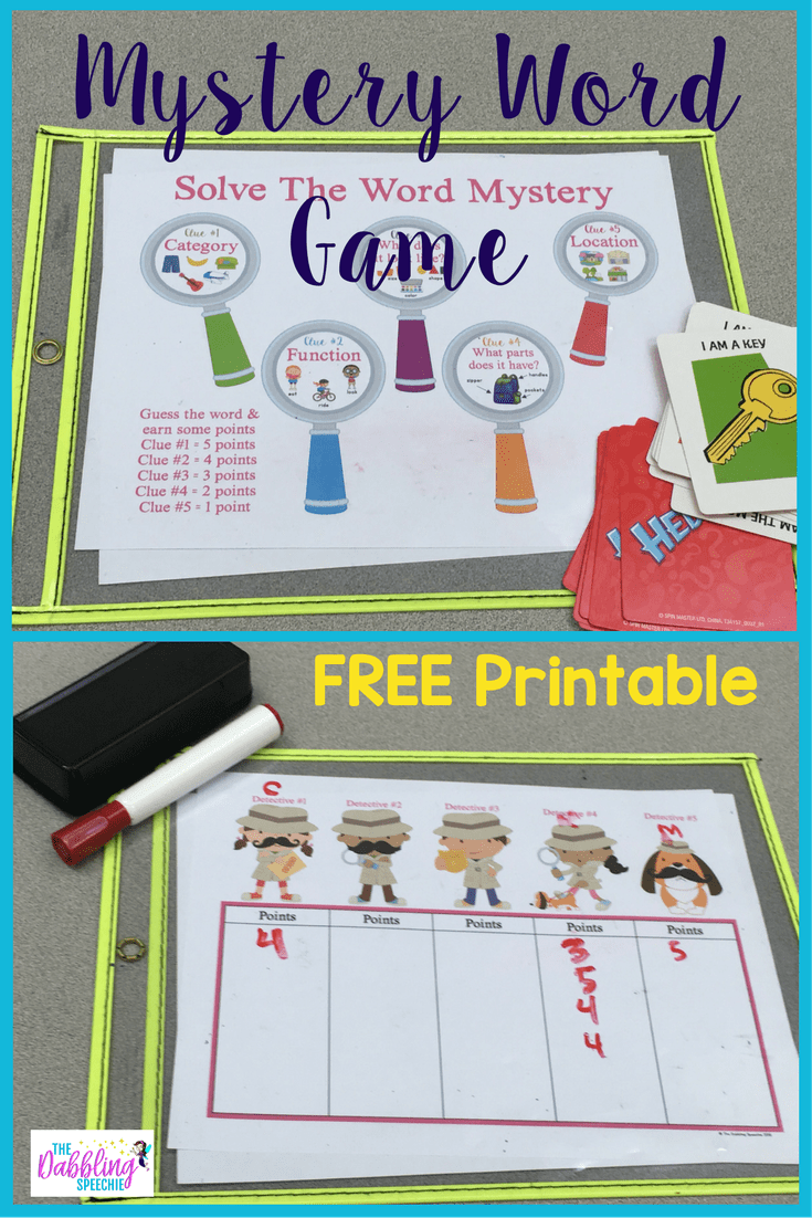 image regarding Free Printable Mystery Games identify Top secret Phrase Match Your Young children Will Get pleasure from - thedabblingspeechie