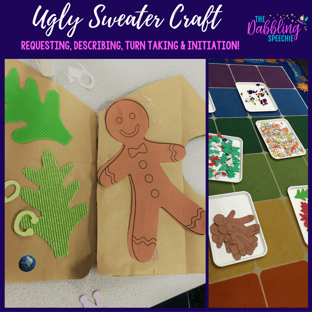 easy holiday activities for the busy SLP doing ugly sweaters. Craft trays are great for putting out the decorative elements