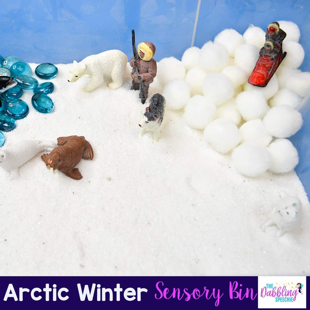 winter sensory bins for speech therapy can make sessions more engaging and loaded with language skills.