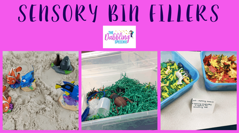 filler ideas for sensory bins in speech therapy is easy!