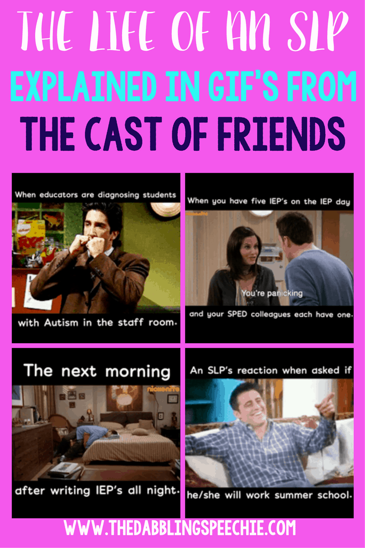 gifs for SLP's explained by the cast of the show Friends. This will give SLP's a laugh with some fun SLP humor