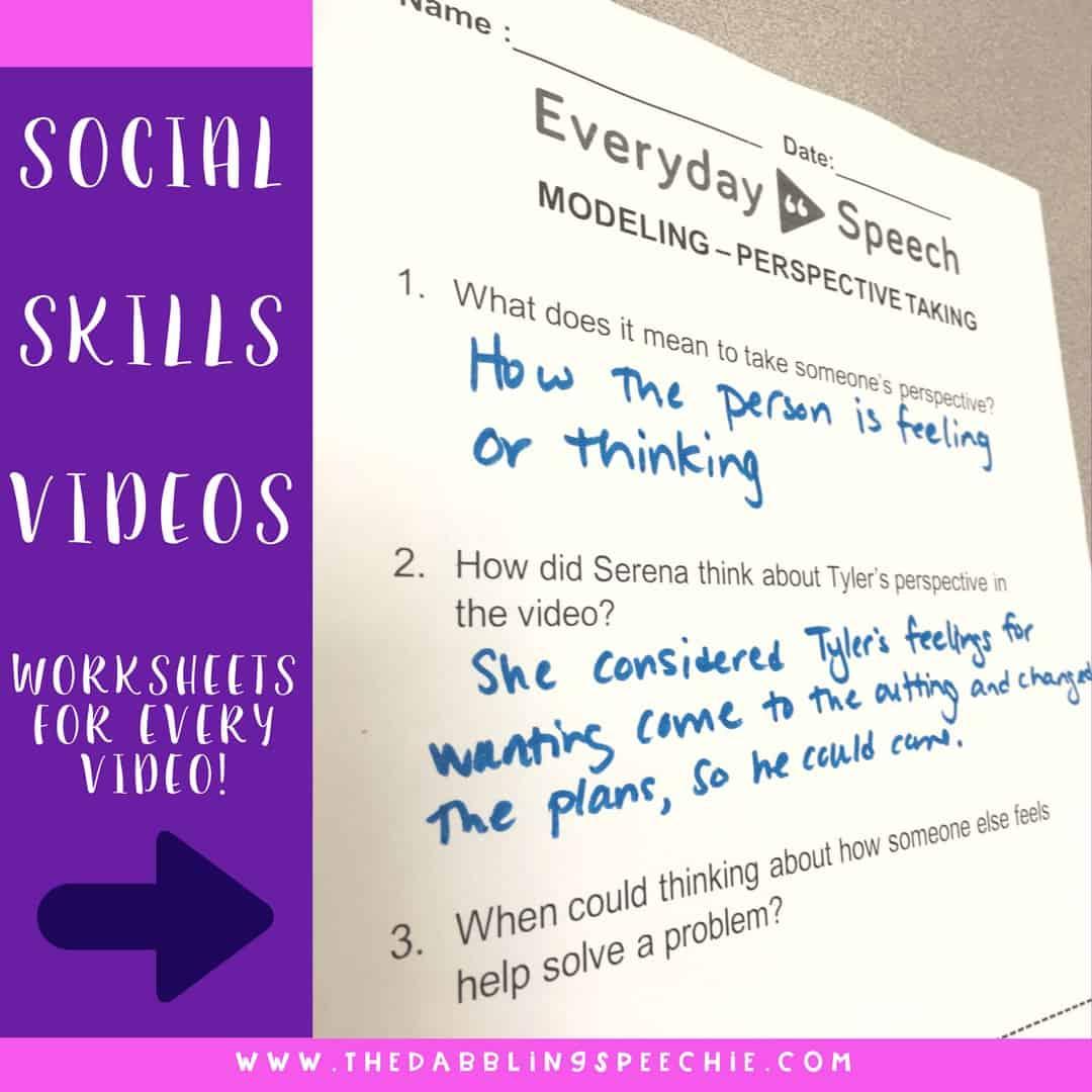 Everyday Speech Social Skills Videos has worksheets you can use with the social skills videos