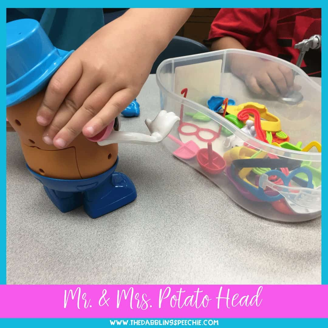 Use Mr. & Mrs. Potato Head in speech therapy to target a variety of speech and language goals!