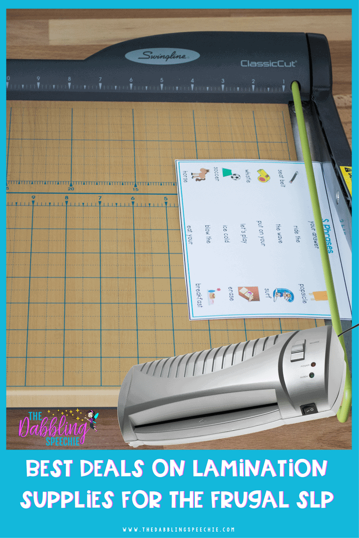 best deals on lamination supplies for the frugal SLP. Check out all the latest deals for getting lamination supplies for prepping speech therapy materials.
