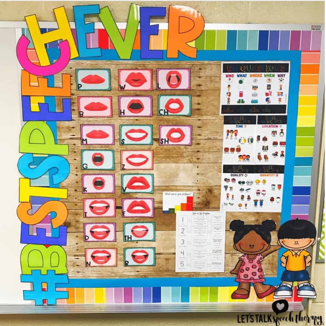 speech therapy bulletin boards for SLPs display visuals for articulation!