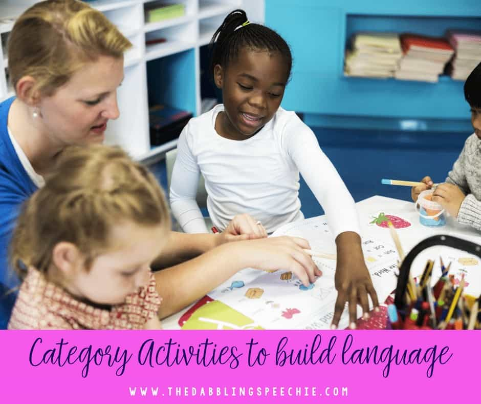 category activities to build language and vocabulary in speech therapy.