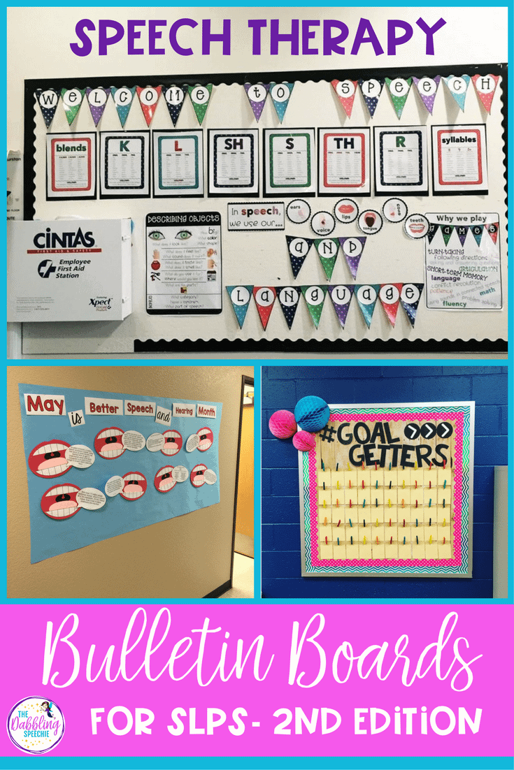 speech therapy bulletin boards for SLPs. Had function and decor to your speech room with vocabulary bulletin boards, goal setting bulletin boards, articulation visual bulletin boards and more!