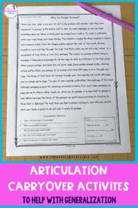 Articulation Carryover Activities To Help With Generalization