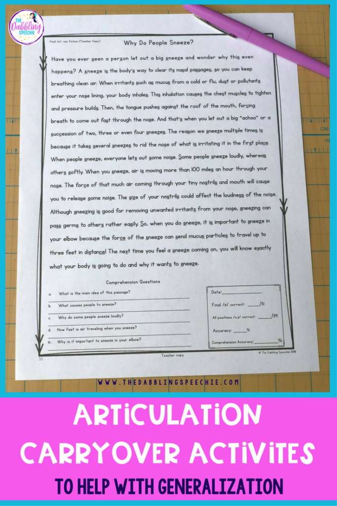 articulation carryover activities to help with generalization