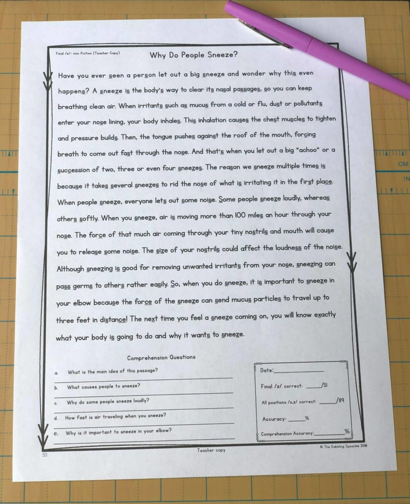use fiction and non-fiction reading passages to work on articulation carryover activities